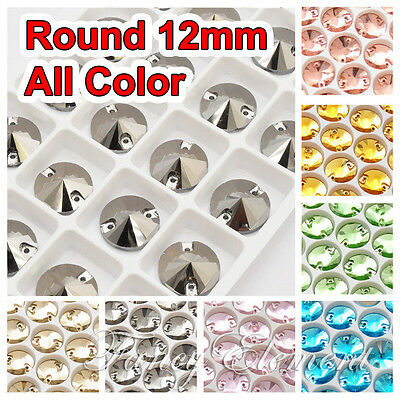 Glass Round 12mm Mix Color Crystal Sew On Flat Back Rhinestone Sewing Gems Beads