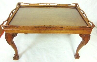 Antique English Mahogany Chippendale Style Ball & Claw Tea Table & Tray