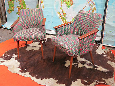 A Pair Vintage East German Cocktail Armchairs Original Fabric Great Condition #2