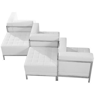 5 Piece Lounge Set with White Leather Corner Chair Set - Reception Furniture