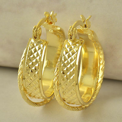 """Awesome New 9K Solid Yellow Gold Filled 3/4"""" Braided Twist Hoop Earrings"""