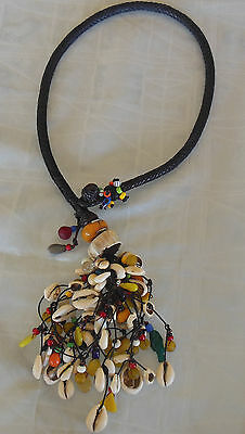 Tuareg jewelry necklace shells and beads strung of multiple strands of leather