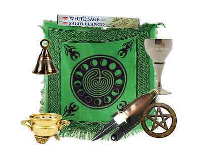 Basic Wiccan Altar Kit - Athame, Chalice, Altar Cloth, Bell, Cauldron, Ritual
