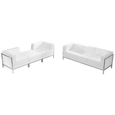 4 Piece Lounge Set with White Leather Sofa & Lounge Chair Set - Reception Set