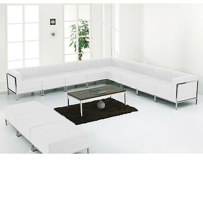 12 Piece Lounge Set with White Leather Sectional & Ottoman Set - Reception Set