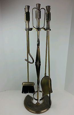 Vtg 5 Piece Brass Fireplace Tool Set w/ Footed Stand, Broom, Poker, Tongs Shovel