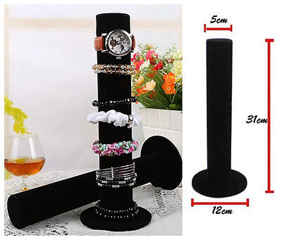 Black Velvet Watch Bangle Cylinder Jewelry Display Stand Holder Rack hanging
