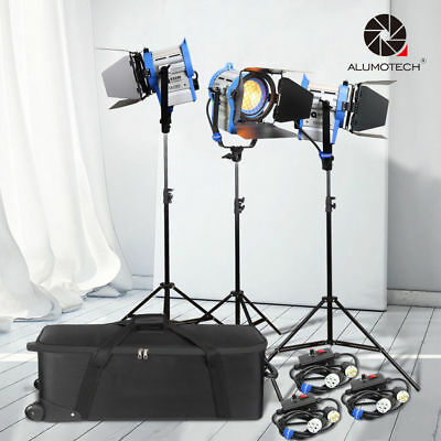 Pro Film 650W*3 Fresnel Tungsten Spot light+dimmers*3+case+Air cushion stand Kit