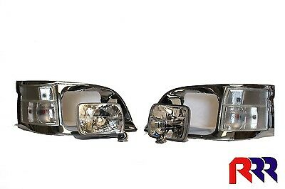 New Corner Light Clear Lens + Chrome Rim + 2 Head Light Toyota Hiace 8/98-2/05