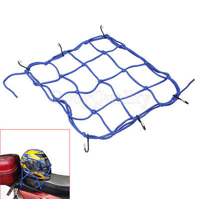 Blue Fixed Helmet High-strength Cargo Elastic Net With 6 Hooks For Motorcycle