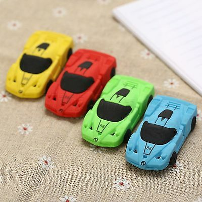 3D Race Car Rubber Pencil Eraser Stationery School Students Kids Toy Boy's Gifts