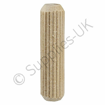 10mm x 40mm Wooden Dowel Pins, Hardwood Fluted Grooved Plugs, Furniture, Joinery