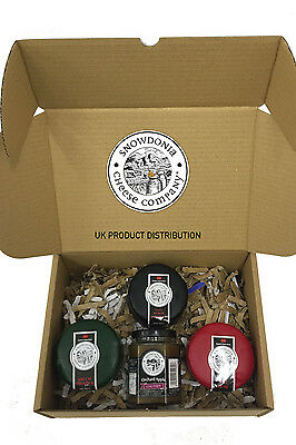 Snowdonia Cheese Company Gift Hamper Containing 3, 200g Truckles & Apple Chutney