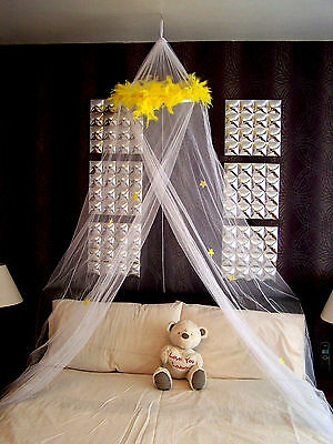 Yellow Feather Boa Mosquito Net Single Double Insect Fly Protection Stars Canopy