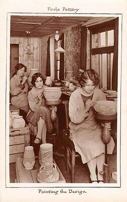 Dorset - POOLE, Pottery, Women painting the Design, Real Photo