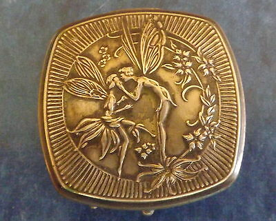 New Price Vintage Djer-Kiss White Metal Lady's Loose Powder Compact Vanity Case