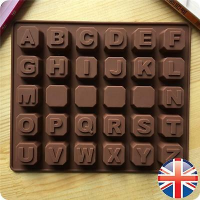 *UK Seller* Silicone Alphabet BLOCKS Chocolate Mould Letters Name Baking