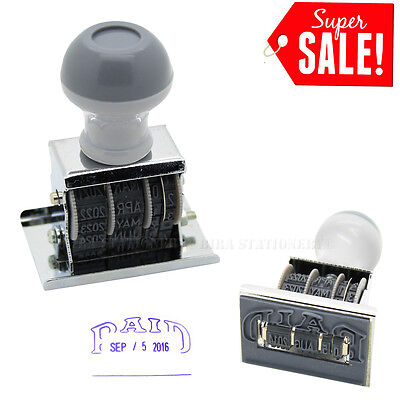 Paid Rubber Manual Set Date Stamp for Business Office Store Use 1 3/4 Inch 16-27