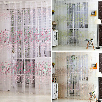 Leaves Floral Tulle Voile Door Window Curtain Sheer Panel Drapes Scarfs Valances