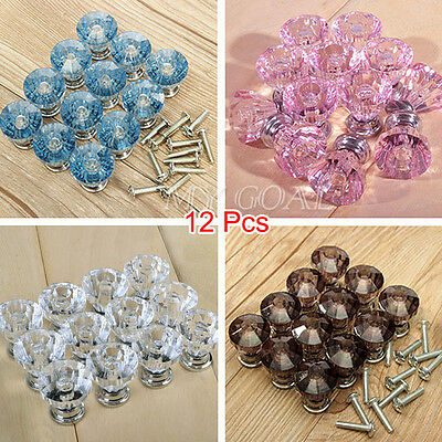 12Pcs Crystal Knobs Glass Door Drawer Cabinet Furniture Kitchen Handle Cupboard