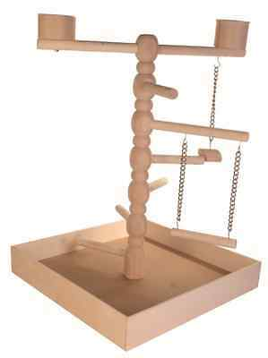Birds Wooden Stand Playground -Birds Treats Parrot Play Toy Swing Game Perch