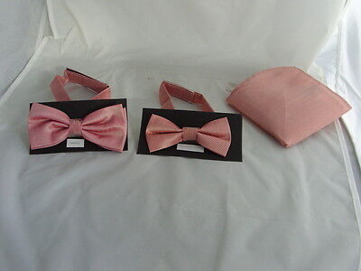 <GG>Dusky Pink MENS or BOYS Polyester Bow ties Only-Also in Sets or Only Hankies