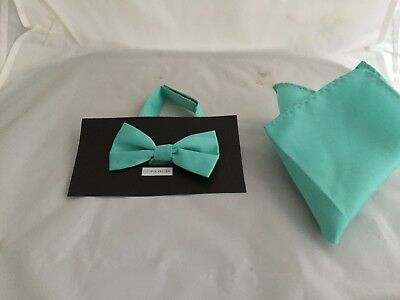 """MATT Mint Green MENS or BOYS Polyester Bow Tie OR in Sets or 9""""  Top Square Only"""