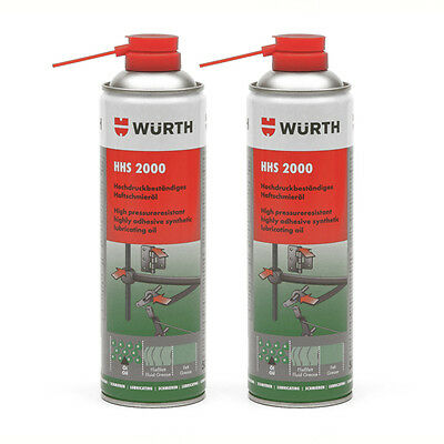 Genuine Wurth HHS 2000 - Highly Adhesive Synthetic Lubricating Oil - 2 x 500ml
