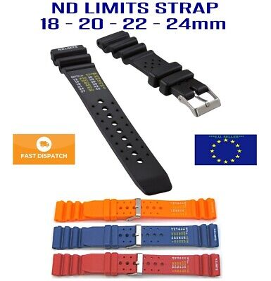 Rubber ND Limits Divers Watch Strap Band 20 22mm for Citizen Promaster 4 Colors