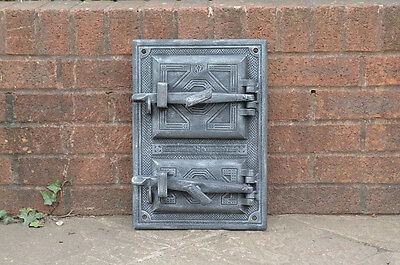 29.5 x 42 cm old cast iron fire / bread oven door/doors /flue/clay/range/ pizza