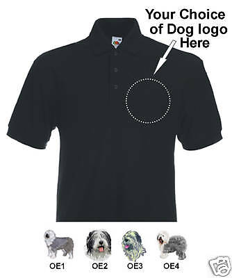 Poloshirt embroidered Old English Sheepdog personalise
