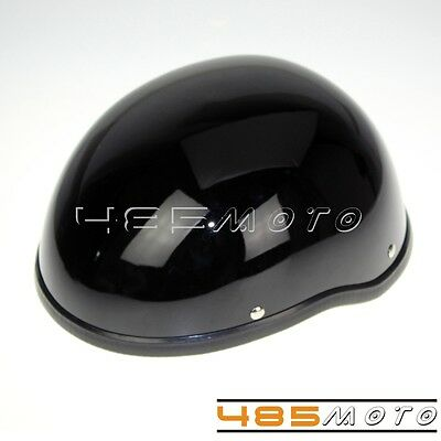 Motorcycle Half Helmet Skull Cap For Chopper Bobber Cruiser Bikes Gloss Black