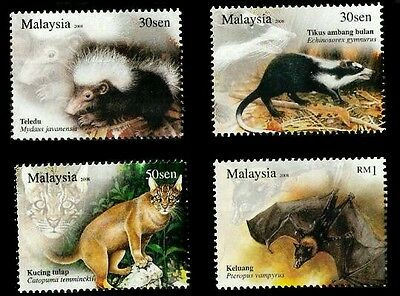 Nocturnal Animals Malaysia 2008 Bats Wild Big Cat Wildlife Forest (stamp) MNH