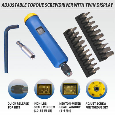 FIT Adjustable TPR Torque Limited 1~4 Nm / 9~35 in-lb Screw Driver / Screwdriver
