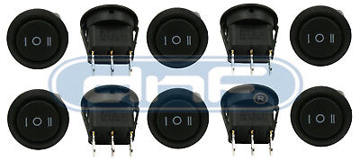 10 Pack 6A 250V 10A 125V On/Off/On 3 Position Mini Round Rocker Switch 12V Spdt