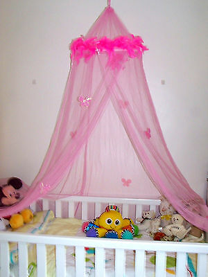 Pink Feather Boa Butterflies Single Mosquito Net Princess Fairy tale Canopy Cot