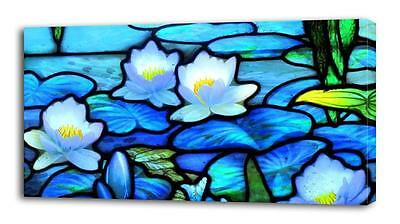 4 Sizes - Stained Glass Water Lillies CANVAS PRINT Wall Decor Art Giclee Flowers