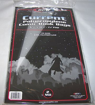 "500 NEW BCW CURRENT COMIC BOOK BAGS  6 7/8"" x x 10 1/2"" PRIORITY MAIL SHIPPING"