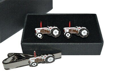 David Brown Tractor Cufflinks & Tie Clip Set Enamel Farming GIFT BOXED! Wedding