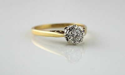 Beautiful Vintage 18ct Yellow Gold & Platinum Diamond Solitare Ring - Size J