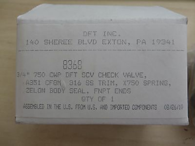 """Dft 8368, In-Line Spring Check Valve 3/4"""" Npt 316 Stainles Steel 750 Cwp"""