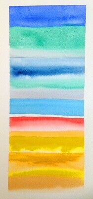 HAND painted WATERCOLOUR H20 artist PICTURE card BRIGHT shade UMBRELLA colours