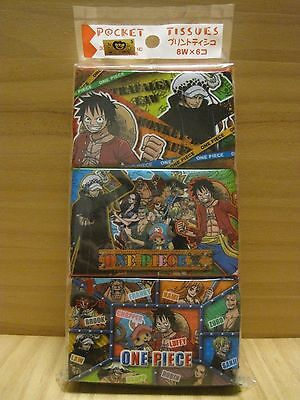 ONE PIECE anime, Facial Pocket Tissue Paper, LUFFY, LAW & CHOPPER, 6packs, Japan