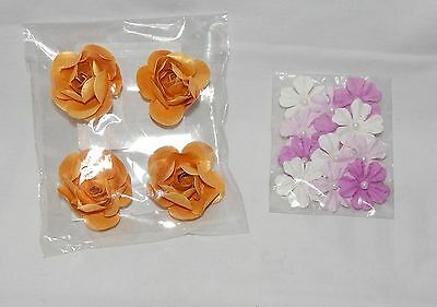 """Paper Flowers 1 1/2"""" Gold Roses And 1 1/4"""" Purple & White Ones Michaels 5Q"""