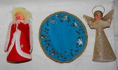 "Christmas Mix Lot Vintage Angels Ornaments & Placemat 8"" Tall Mat 8"" Round 8K"