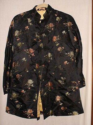 Vintage Dynasty jacket Made in Hong Kong BCC black /floral size s