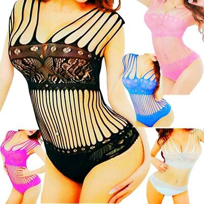 Lingerie Teddy Stockings Bodysuit Floral Mesh Thong Top Women Sleepwear G-string