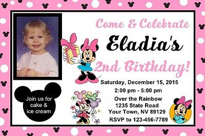Personalized Minnie Mouse Birthday Invitations 650 PicClick – Minnie Mouse Birthday Invitation