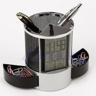 Digital LCD Desk ALarm Clock & Mesh Rulers Pen Pencil Holder Time Temp Calendar