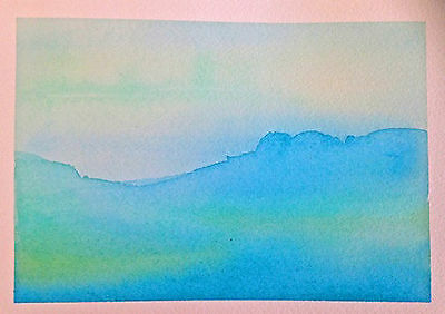 SWELL HAND painted WATERCOLOUR artist PICTURE card OCEAN blues DIY frame ART